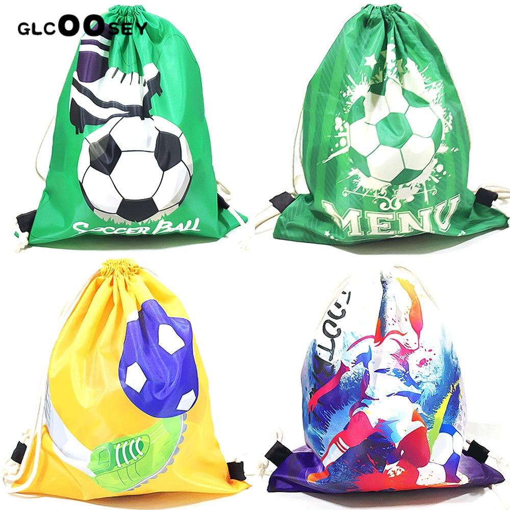 Soccer Drawstring Bundle Pocket Green Football Backpack Polyester Men Shoulder Travel Storage Bag As Boy Gift Draw String Bags