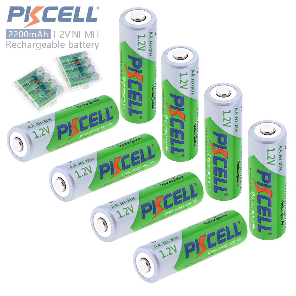 8pcs Pkcell 1.2V 2200mAh AA Ni-Mh NiMh Rechargeable Battery with Safety Relief Valve 2A Pre-charged + 2pcs Battery Hold Case Box