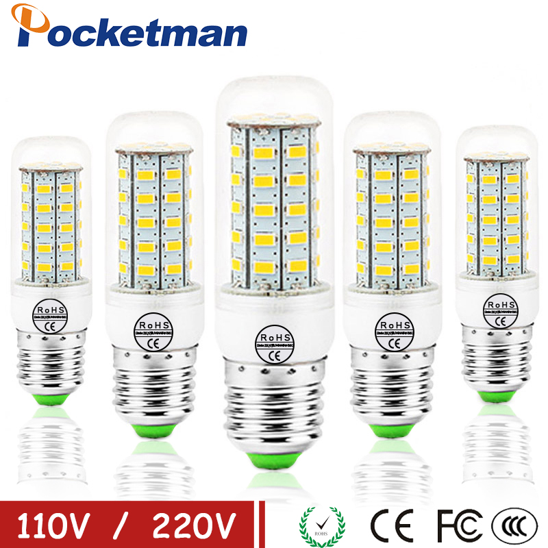 E27 LED Lamp E14 LED Bulb SMD5730 220V Corn Bulb 24 36 48 56 69 72LEDs Lampada Chandelier Candle LED Light For Home Decoration