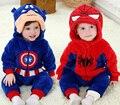 Primavera e no outono roupas de bebê menino spiderman Capitão América menino macacão de bebê Azul Vermelho bebe recém-nascidos roupa uma peça