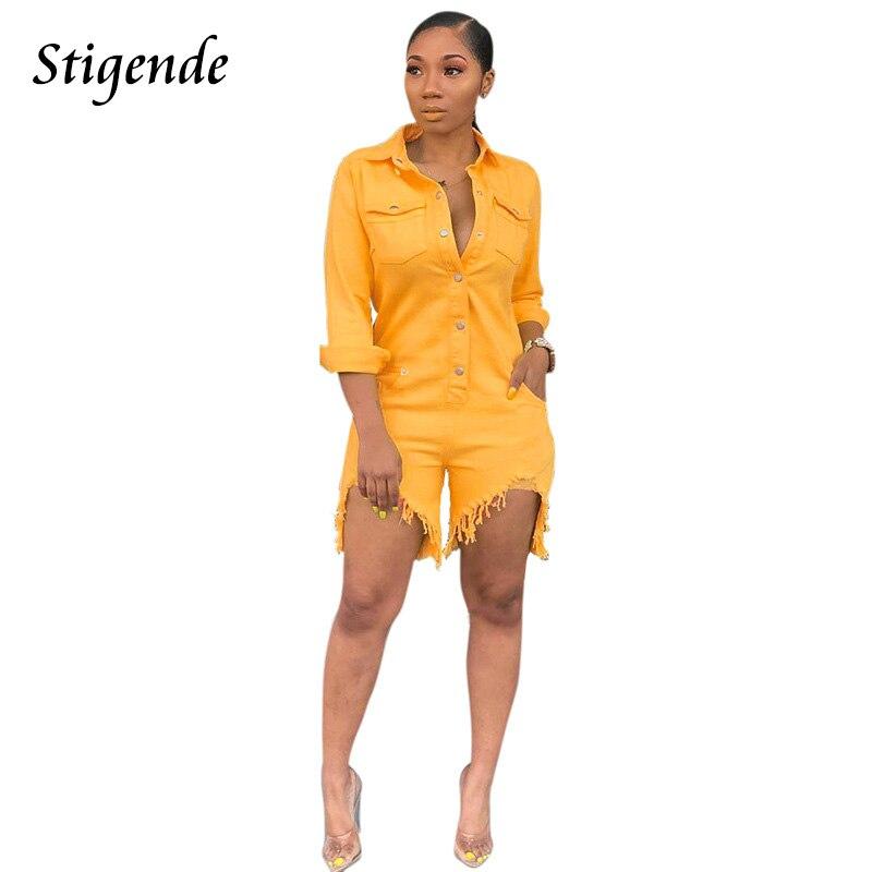 Stigende Women Long Sleeve Bodycon Denim Jeans   Jumpsuit   Front Button Solid Ripped Denim   Jumpsuit   Turn Down Collar Short   Jumpsuit