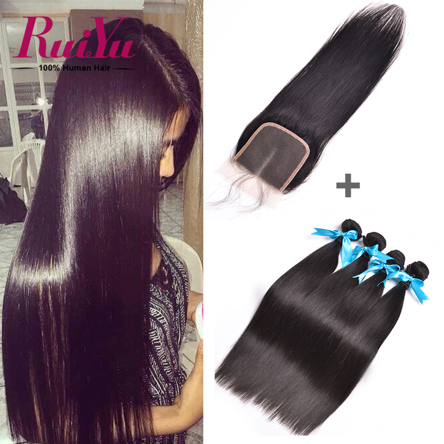 Peruvian Virgin Hair With Closure 3 Bundles Human Hair With Closure 7A Unprocessed Peruvian Straight Virgin Hair With Closure