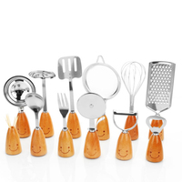 Fantastic Kitchen High Grade Stainless Steel Kitchen Tools Set Unique With Smiling Face Wooden Handle Cooking