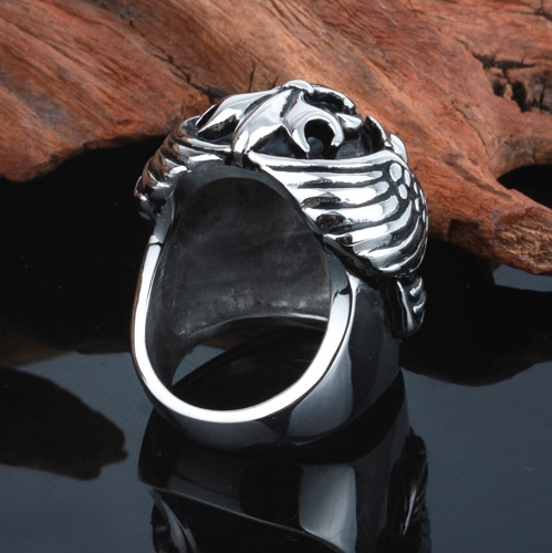 Hardcore Rocker Skeleton Skull Ring Men Ring back