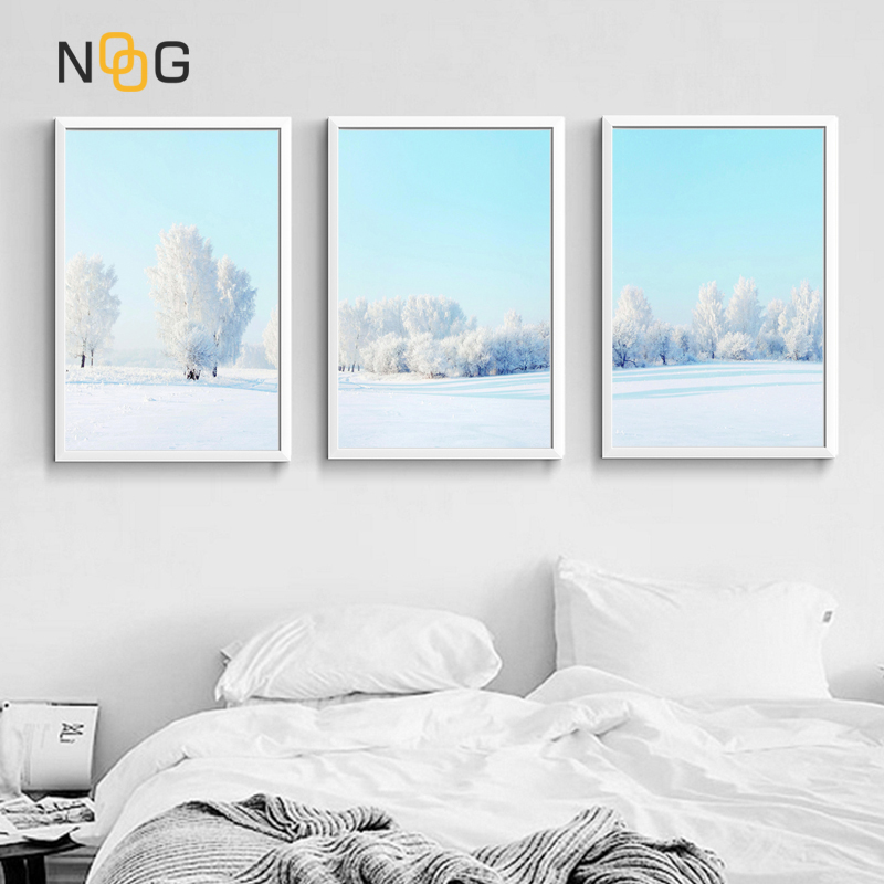 NOOG Nordic Style Landscape Poster Print White Snow Tree Wall Art Canvas Painting Wall Picture for Living room Home Decor in Painting Calligraphy from Home Garden