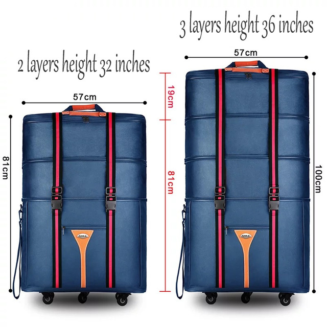 Travel tale 32 36 inch Large capacity Oxford cloth rolling luggage bag abroad to study and