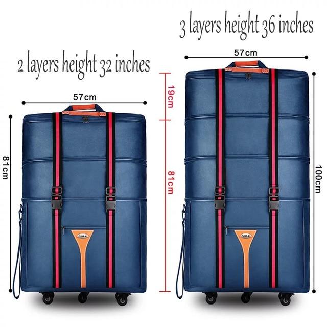 Bagaj ve Çantalar'ten Tekerlekli Bagaj'de Seyahat masalı 32 36 inç Büyük kapasiteli Oxford kumaş haddeleme bagaj çantası yurtdışında çalışma ve hareket taşımak için katlanır arabası bavul'da  Grup 1