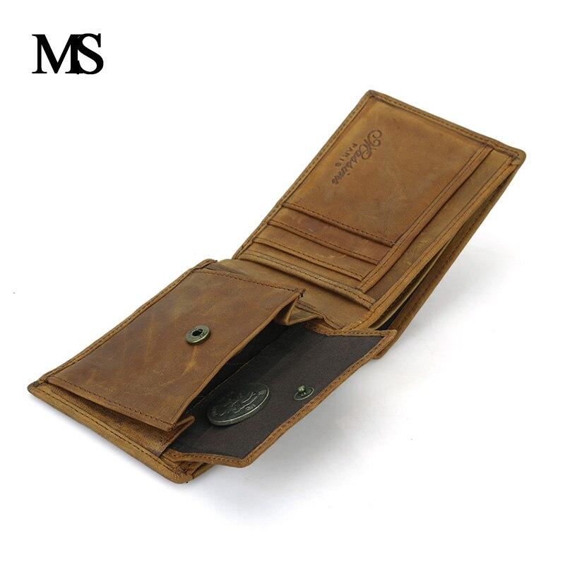 Men Organizer Wallets Brand Vintage Genuine Leather Cowhide Short Bifold Men S Wallet Purse Card Holder