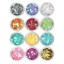 1 Set 12Colors Heart Nail Glitter Sequins Laser Gllitter Paillette 3D DIY Charm Polish Flakes Decorations Manicure Kit