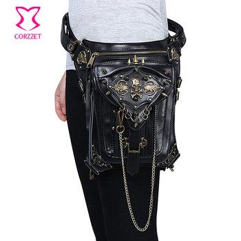 Women/Men Gothic Punk Retro Black Leather Skull and Rivet Waist Bag Steampunk Messenger Travel Shoulder Bag Corset Accessories
