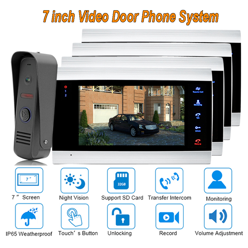 2017 7 TFT Video Door Phone Intercom Doorbell Home Security Camera Monitor Night Vision Intercom Doorphone ip65 Rainproof 1V4