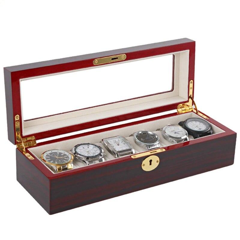 Boîtes de rangement en bois de luxe afficher 6 boîtes de montres afficher boîte de montre boîte à bijoux support organisateur boîtes de Promotion