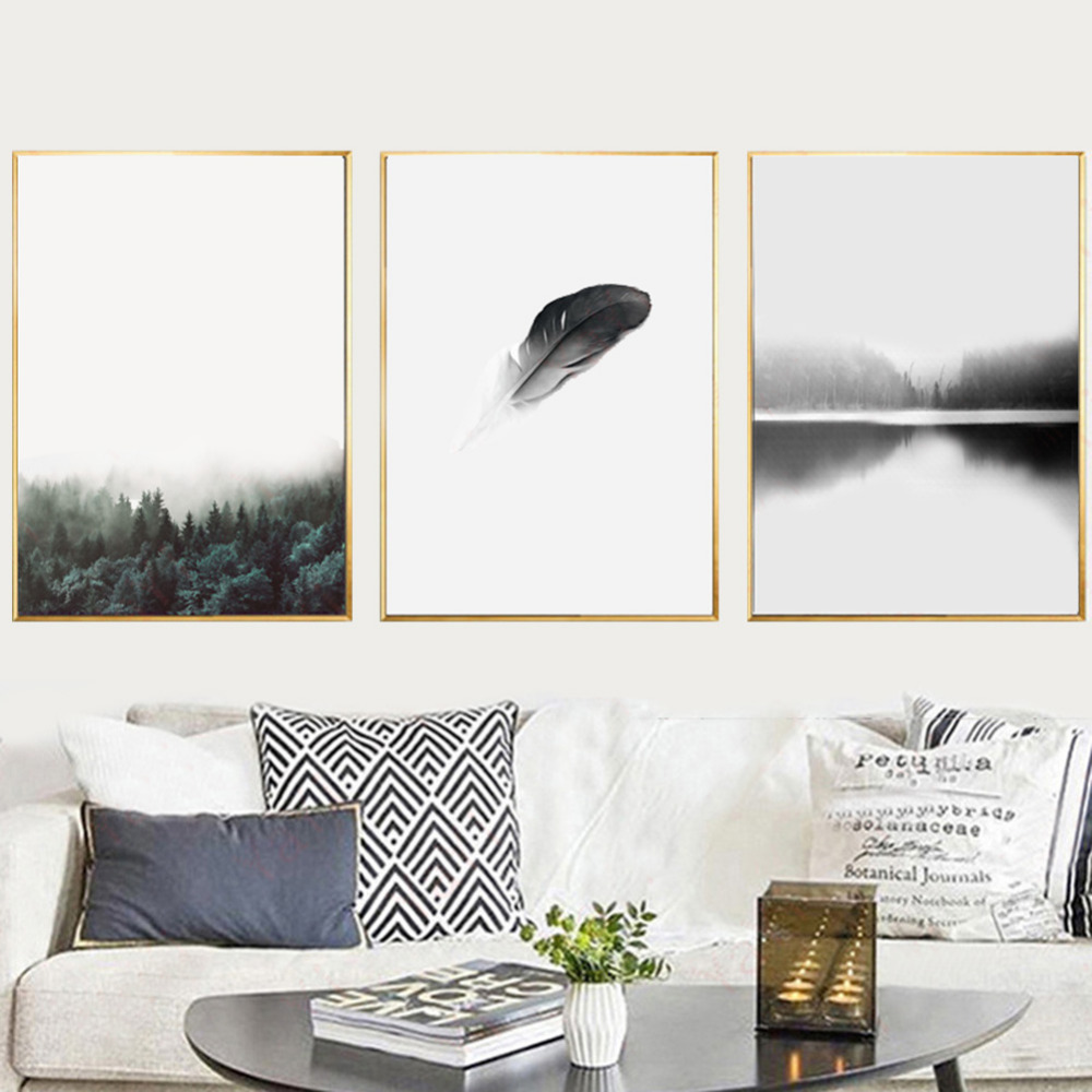 No Frame Wall Pictures Watercolor Tropical Plant Leaf Canvas Art ...
