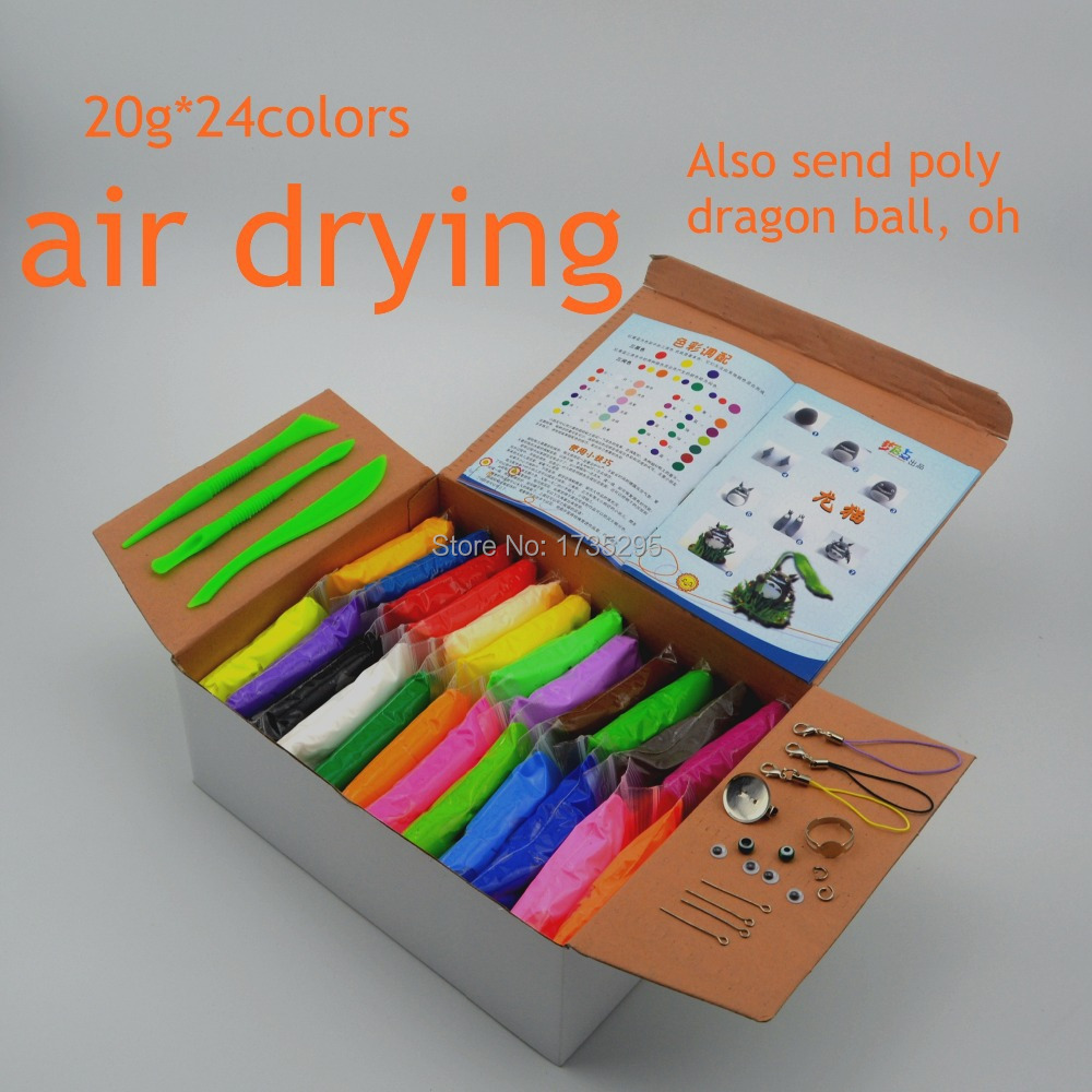 NEW 24colors Super light clay Air drying Soft Polymer Modelling Clay with tools font b Educational