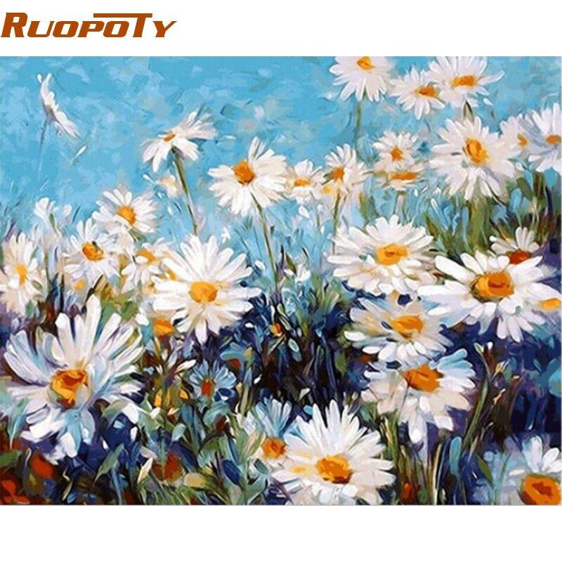 RUOPOTY diy marco blanco flor DIY pintura por números moderno hogar pared arte cuadro lienzo pintura regalo único para salón habitación