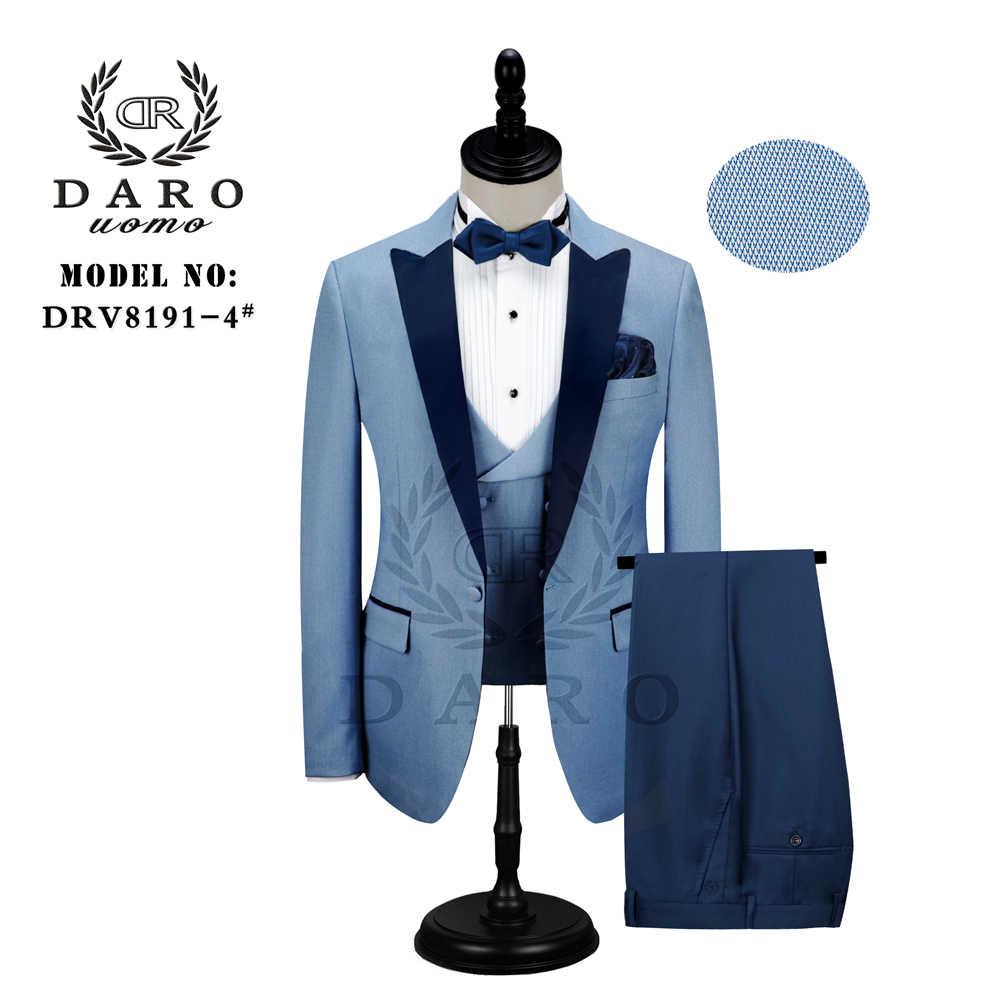 DARO 남자 정장 신랑 웨딩 턱시도 새로운 스타일 블레이저 패턴 자켓 조끼 바지 3 조각 슬림 피트 화이트 골드 블루 와인 파티