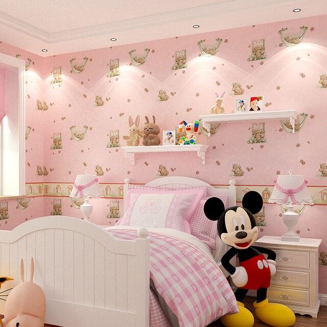 . US  29 7  New Cartoon sleeping bear children s room wall papers boy girl  bedroom warm non woven pink wallpaper green children s paradise in  Wallpapers
