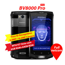 Original Blackview BV8000 Pro 4G IP68 Smartphone 5.0inch Android 7.0 MTK6757 OctaCore 2.3GHz 6GB+64GB 16.0MP Rear Camera NFC OTG