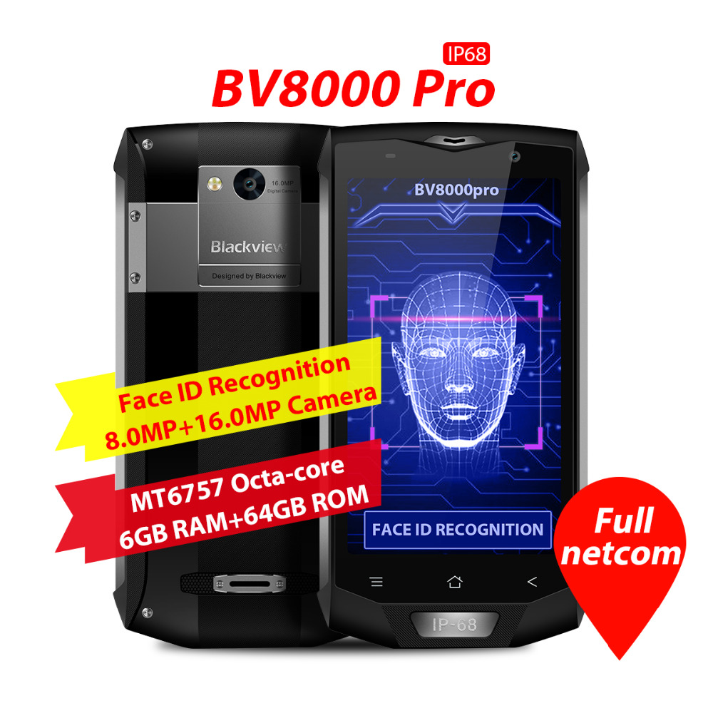 Origine Blackview BV8000 Pro 4G IP68 Smartphone 5.0 pouces Android 7.0 MTK6757 OctaCore 2.3 GHz 6 GB + 64 GB 16.0MP Arrière Caméra NFC OTG