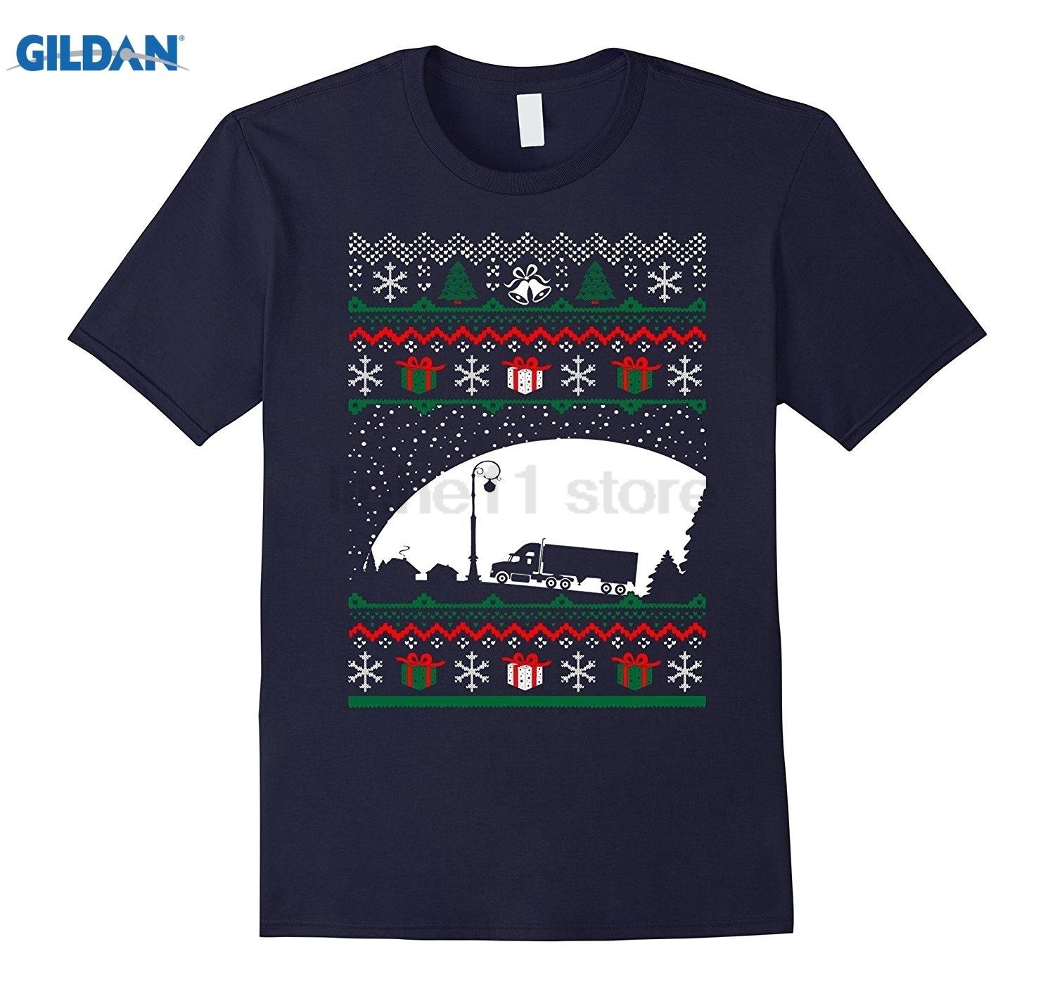 GILDAN Christmas Ugly Sweater Truck Driver Profession Tshirt Womens T-shirt