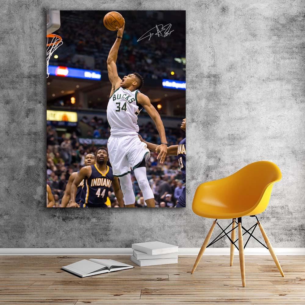 Basketball Sports Canvas Wall Art For Boys Bedroom Decor: NBA Giannis Antetokounmpo Slam Dunk Basketball Sports Wall