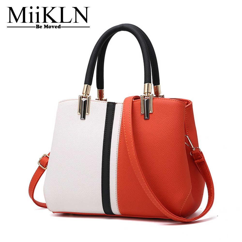 MiiKLN Panelled Pu Leather Red Grey Pink Purple Black Women Leather Bag  Fashion Casual Tote For 7de3dccee7ca
