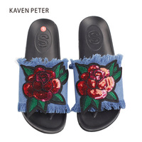 Children slippers Denim flower shoes girls sandal slippers kid slippers home 2017 fashion house shoes Cowboy blue size 5 8.5