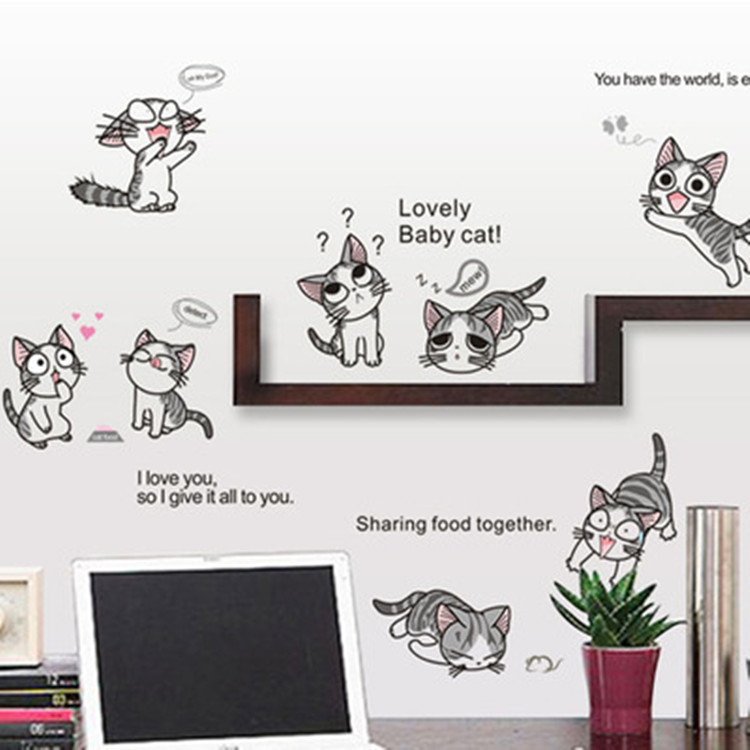 gato de la historieta tatuajes de pared de vinilo pegatinas home decor cartoon cats etiqueta de