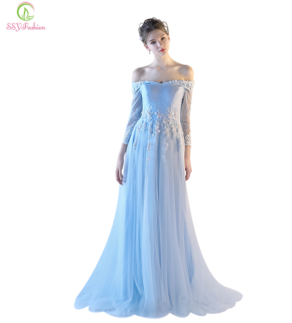 aac9996838 US $98.0 |Banquet Evening Dress SSYFashion New The Bride Sweet Boat Neck  Light Blue Lace Flower Long Sleeved Party Gown Prom Formal Dress-in Evening  ...