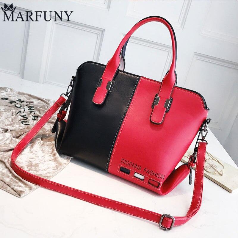 все цены на Leather Crossbody Bag Shoulder Bags For Women 2018 New Luxury Handbags Women Bags Designer Womens Panelled Message Bag Female онлайн