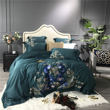 Luxury Green Blue 80S Egyptian Cotton Peacock Flowers Embroidery Palace Bedding Set Duvet Cover Bed sheet Linen Pillowcases