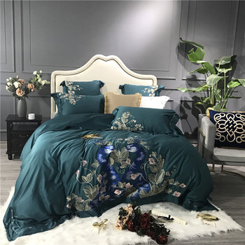 Luxury Green Blue 80S Egyptian Cotton Peacock Flowers Embroidery Palace Bedding Set Duvet Cover Bed sheet Bed Linen Pillowcases