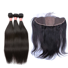 Silk Base Lace Frontal Closure With Bundles Straight  Brazilian Human Hair Weave Bundles Honey Queen Hair Products Remy