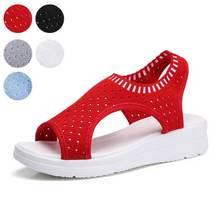 Flying Women Sandals Summer 2019 Breathable Comfort Ladies Walking Shoes Platform Black Sandal Red Large Size 35-42