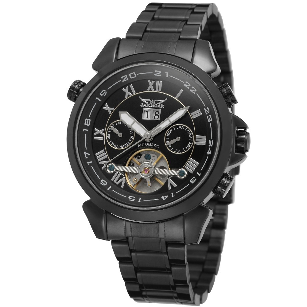JARAGAR Men Luxury Watch Roman Number Stainless Steel Tourbillion Automatic Mechanical Wristwatch Gift Box Relogio Releges 2016