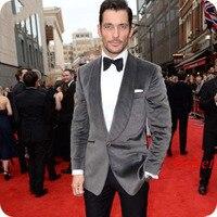 Grey Velvet Men Suits for Wedding Smoking Jacket Groom Tuxedo Shawl Lapel Slim Fit Blazer Jacket 2Piece Ceremony Costume Homme