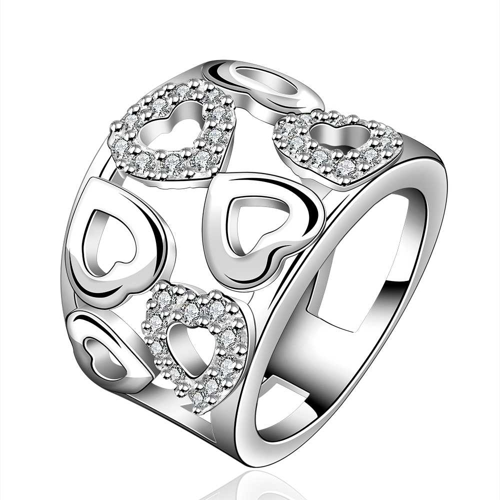 R633 fashion new arrive Specials silver plated heart wedding fashion cute woman sparkling crystal love caring ring
