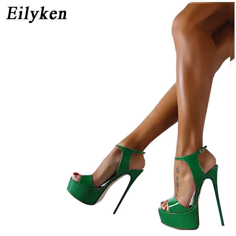 Eilyken Kadın Sandalet Gladyatör Parti Ayak Bileği Askısı Rugan Muhtasar Ultra Çok Yüksek topuk Pompaları 16 CM Fetiş Sandalet ayakkabı 46