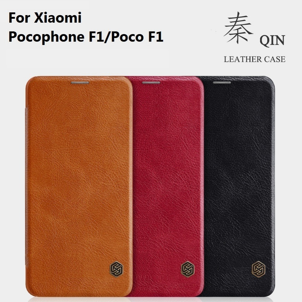 For Xiaomi Pocophone F1 Nillkin Qin ultra flip PU leather Cover For Poco F1 Wallet Leather Card Holder phone cases 6.18'' inch