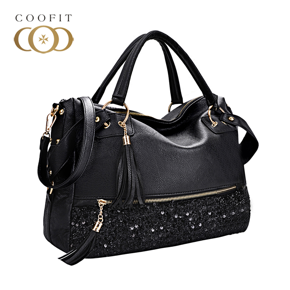 Coofit 2017 Fashion Shinny PU Leather Women Handbag Elegant Glitter Crystal Tote Punk Sequin Bag Female Crossbody Bags Black Bag