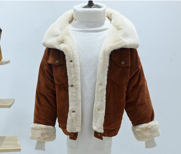 woman Loose Corduroy Jacket Women New Thick Winter lambswool Jackets Ladies Cute Outerwear Coat Warm Parka Female