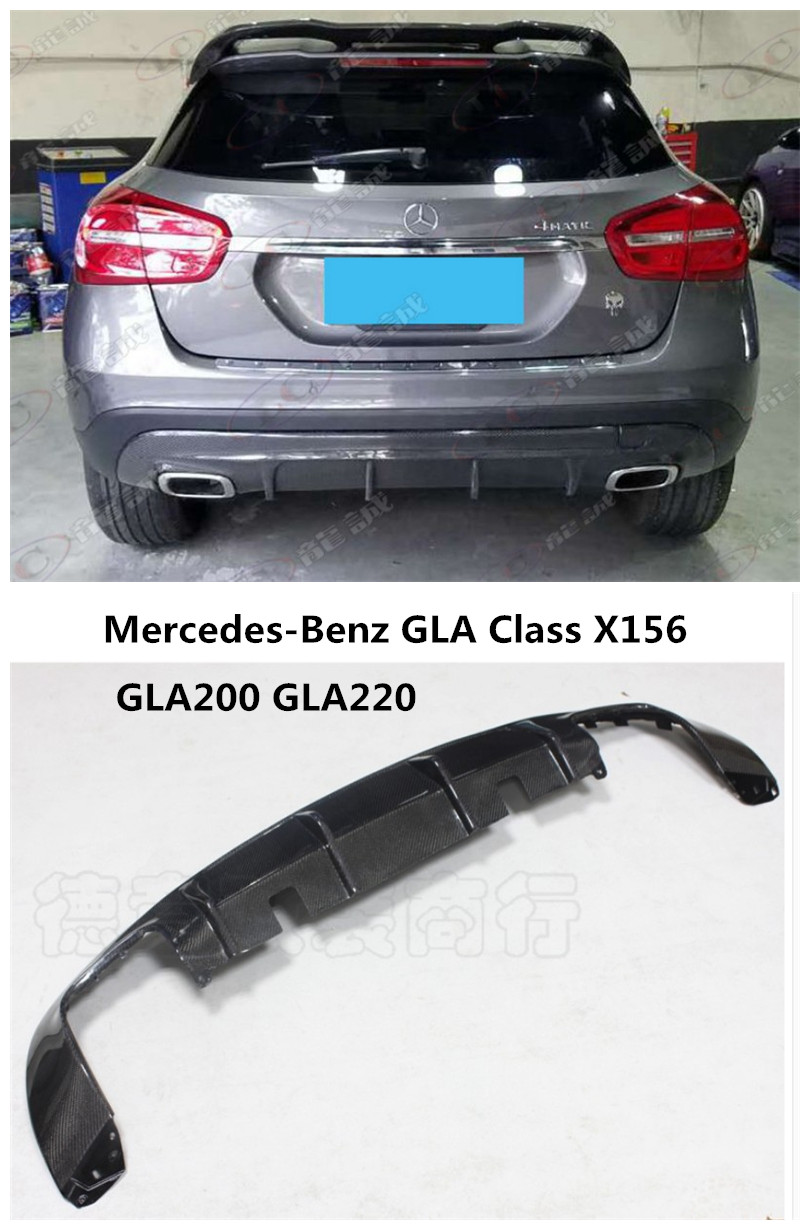 Car Carbon Fiber Rear Lip Spoiler For Mercedes-Benz GLA Class X156 GLA200 GLA220 2015-2017 Bumper Diffuser Auto Accessories