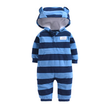Купить с кэшбэком 2019 winter bebes clothes girls romper infants pajamas fleece baby jumpsuit hooded baby fox clothing toddler boys warm clothes