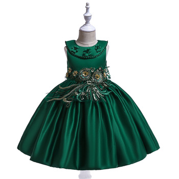 floral girls dress children princess dresses kids sailor collar a line preppy style school clothing high quality for 4y 12y Great A-line Dark Green Sation Elegant Children Clothing Kids Dresses For Girls Princess Wedding Gown