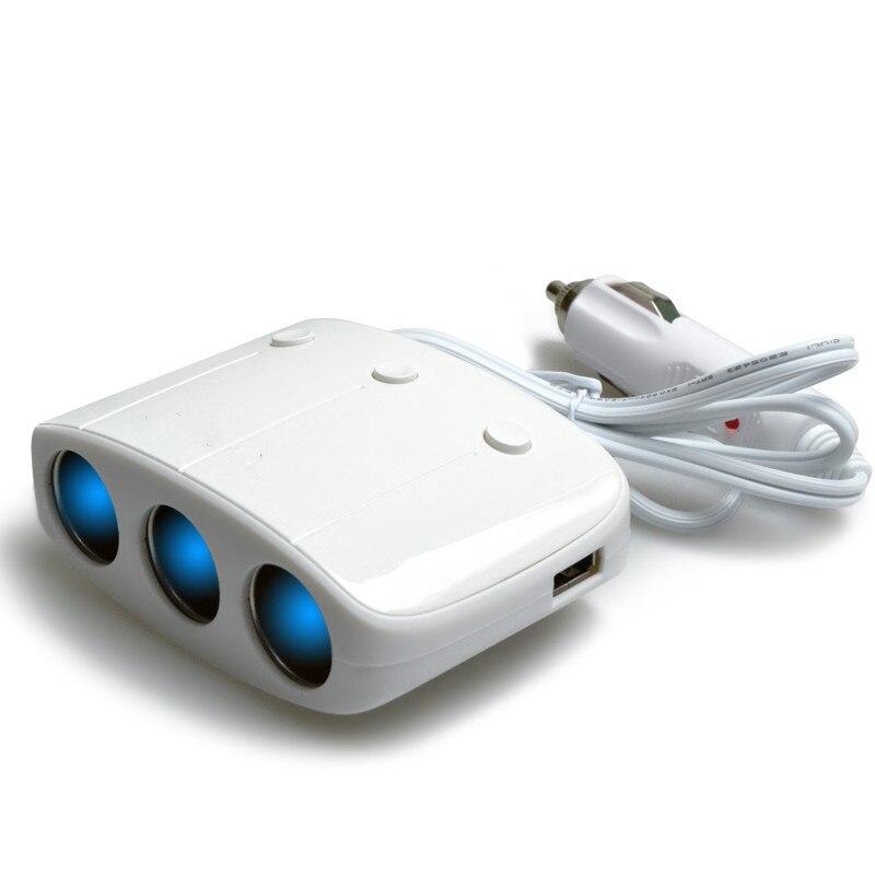 imágenes para Rojo, Blanco 120 W de Potencia De Salida Inteligente Un Arrastre de Tres Encendedor Del Coche USB Cargador de Coche Actual Interruptor Independiente
