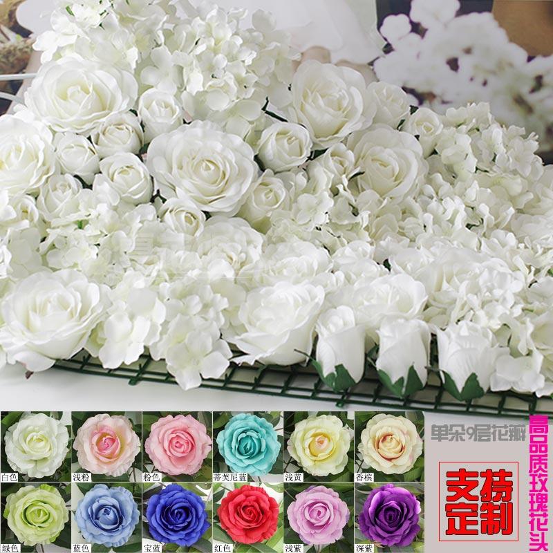 10pcs / lot Umělé hedvábí růže květ zeď svatební pozadí trávník / pilíř květina silnice vést domácí květina dekorace květina zeď