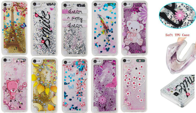 more photos f0970 9e81f US $3.19 |Cartoon Bear Quicksand Glitter Star Flowing Liquid Case For Apple  iPod touch 5 6 itouch 5/6 Clear Silicone TPU Cover phone cases-in ...