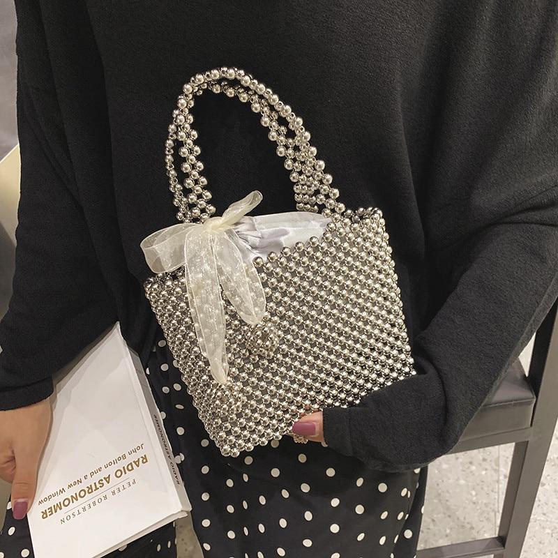 Handmade Pearl Bag Women Luxury Handbags Small Box Party Vintage Shoulder Bag Female Top-handle Purse Evening Bags Black Silver