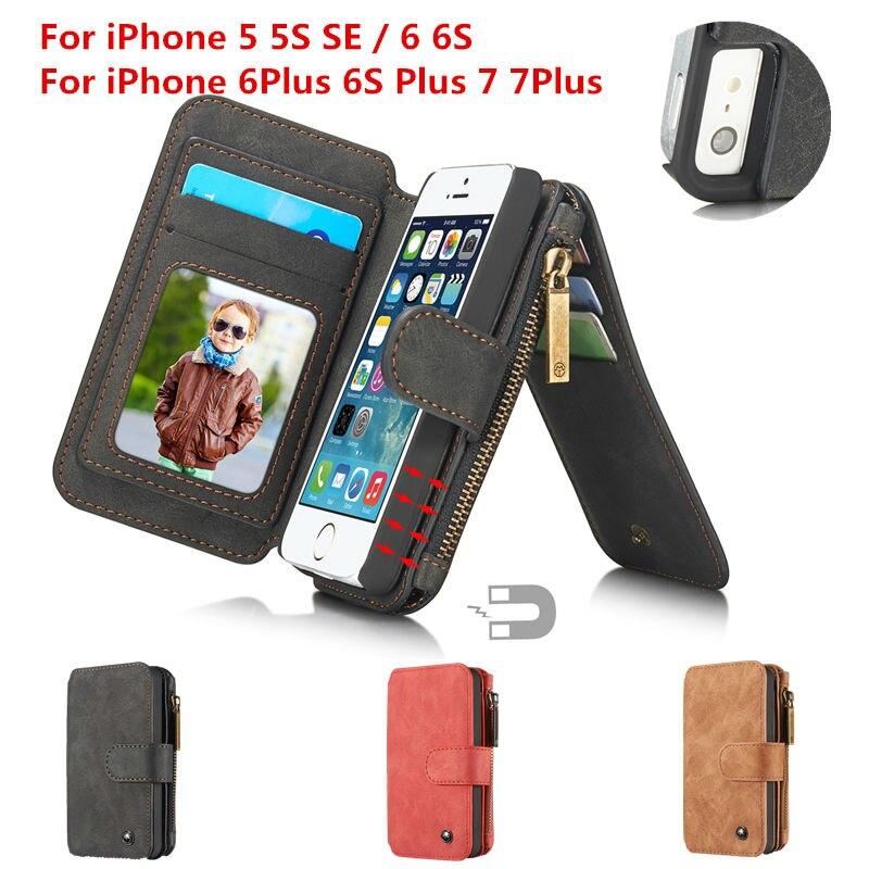 imágenes para Super Cool Protección de Cuero SE 5S Celular Para Apple iPhone 6 S 7 Del Tirón Del Caso Cubierta de La Carpeta + Soporte de la Tarjeta 5 de 6 Más 7 Más Nuevo cubierta