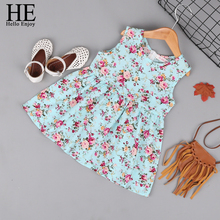 все цены на HE Hello Enjoy Kids Girl Clothing Sleeveless Dress Summer Girl Print Flower Dresses Children Clothes Baby Cotton Princess Dress онлайн